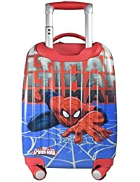 Handcuffs Polycarbonate 18-inch Spiderman Printed Blue Children's Trolley Bag