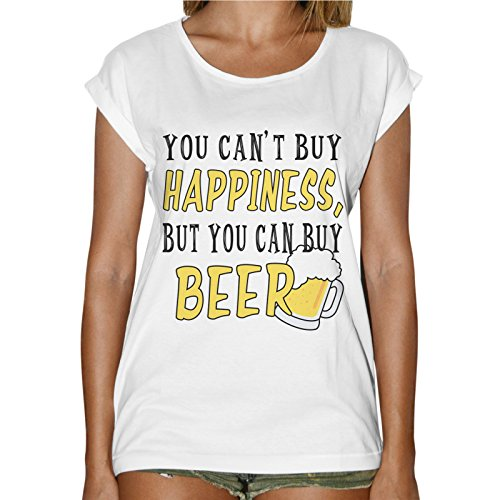 T-Shirt Donna Fashion Non Puoi Comprare La Felicità Ma Puoi Comprare Birra Bianco