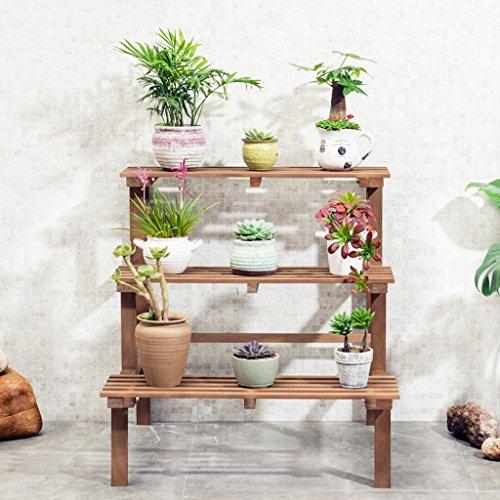 Lsjt fioriera in legno scala 3 strati interni ed esterni pianta stand, stand da pavimento decorazione varie scene espositori da party bianco vintage color 60cm 4kg (8.82lbs) (colore : brown)