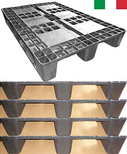 Cenni 12080 Set 5 Kunststoff Paletten 1200 x 800 mit 3 Kufen, Europaletten, Made in Italy -