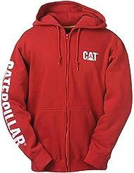 Mens Caterpillar W10840 Zip Hooded Sweatshirt - Large - Chilli