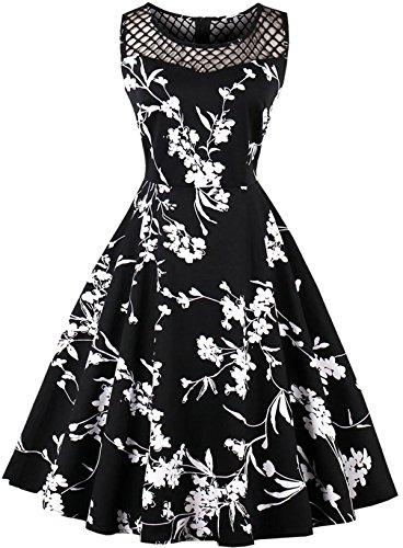 Joansam Sexy ärmelloses Rockabilly Retro Vintage Kleid Plus Größe 60er Jahre 70er Jahre Blumendruck schwarz Marineblau Party Club Kleid JS1581B-4XL