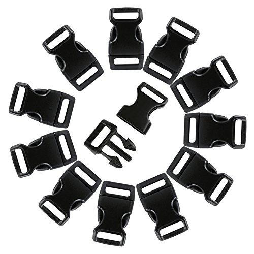 LIHAO 120pcs 3 / 8 'Plastic Buckles Backpack Buckles (Black)
