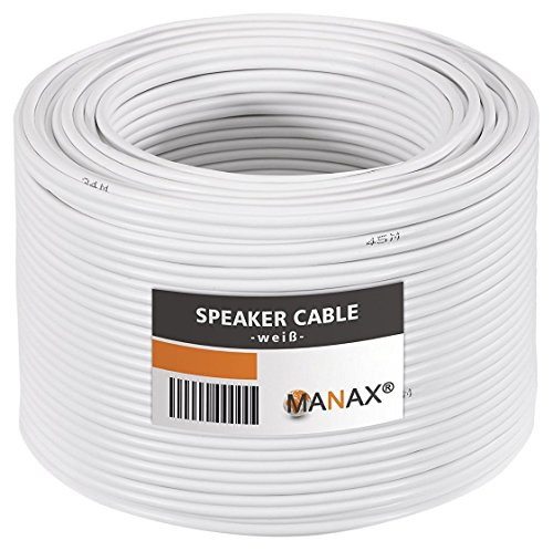 MANAX® cable del altavoz 2 x 1,50 mm² 50 m blanco