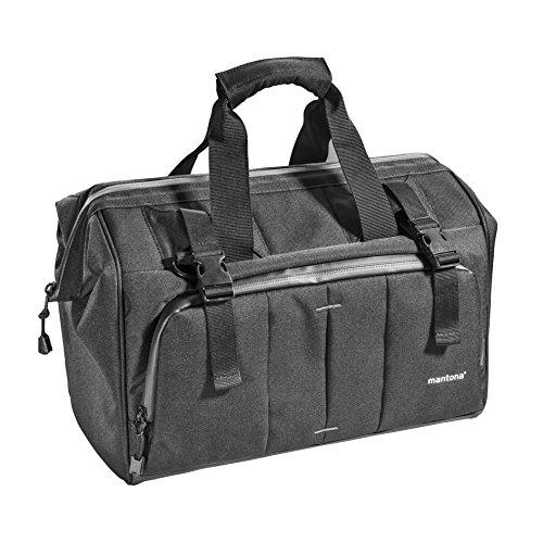 Mantona Kameratasche Doctor Bag (mit diversen Zusatztaschen innen und außen, mit entnehmbarer Kamerainnentasche, Schultergurt, Regenschutzhülle, geignet für DSLR und Systemkameras) schwarz