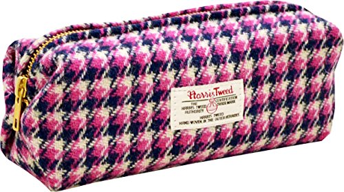 Vagabond Bags Harris Tweed Pink Boxy Make Up Bag Trousse de Toilette, 20 cm, Rose (Pink Check)