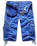 QitunC Cargo Shorts Herren Kurze Hose Lässig Bermuda Cargoshorts 3/4 Shorts Blau 31