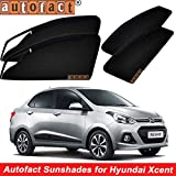 #4: Autofact Magnetic Window Sunshades/Curtains for Hyundai Xcent [Set of 4pc - Front 2pc with Zipper ; Rear 2pc Without Zipper] (Black)