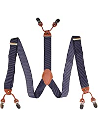 Suspenders Mens Fashion Twilled Black White Blue Braces Twill Pattern Trouser Straps With Clips Formal Suit Tuxedo...