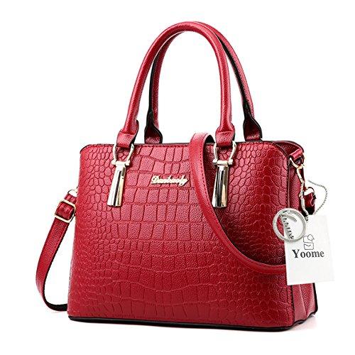 Yoome modello di coccodrillo grande borsa a tracolla Bulk Ladies borsa borsa portafoglio borsa borsa borse casual - Navy Borgogna
