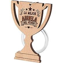 Dawanza - Regalos Navidad Llavero de Madera Natural del Trofeo Grabado - Regalo Original
