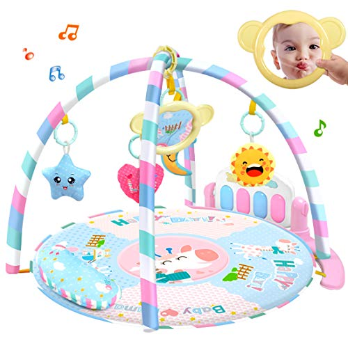 Mecotech 3 en 1 Bébé Piano Tapis Jouer Gym Tapis de Jeu avec Musique et Lumières Jouet pour bébé 0-36 Mois, 88.5 x 55.5 x 28.8cm (Rose)