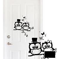 Inodoro Pegatina para puerta de cartel para puerta decorativa–Vinilos búho sobre rama rama búho wandtat Diseño con mariposas y lunares m1491Ilka parey WANDTATTOO Mundial de®, negro, M 25cm breit x 25cm hoch