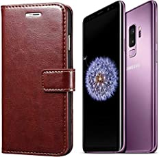 Calosc® Samsung Galaxy S9 Plus Flip Cover, Vintage PU Leather Wallet Book Cover Case for Samsung Galaxy S9 Plus (Brown)