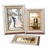 Pulchram Cornice Multipla per 3 Foto Portafoto da Parete Shockproof in Fiberboard Portafoto di Stile Europeo(Romantico Bianco)