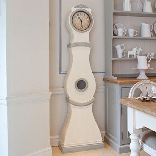 G&S Reproduktion Mora Uhr in Weiß mit grauen Details