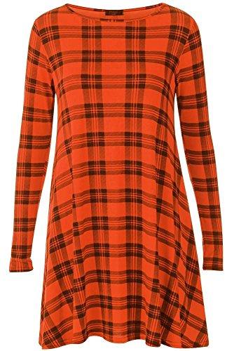Generic - Robe - Robe de swing - Col Ras Du Cou - Manches Longues - Femme multicolore * taille unique Orange