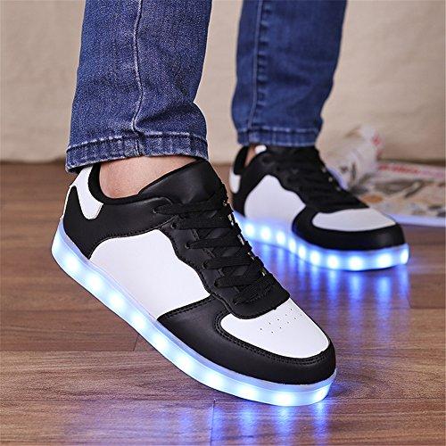 Saguaro 8couleurs LED Lumineux Couple Femme Homme Chaussures de sport pour Sneakers USB de charge pour la Saint Valentin Noël Halloween Noir 2