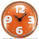 Tutoy Salle De Bain Verre Carrelage Miroir Mural Miroir Horloge Étanche Avec Ventouse -Orange
