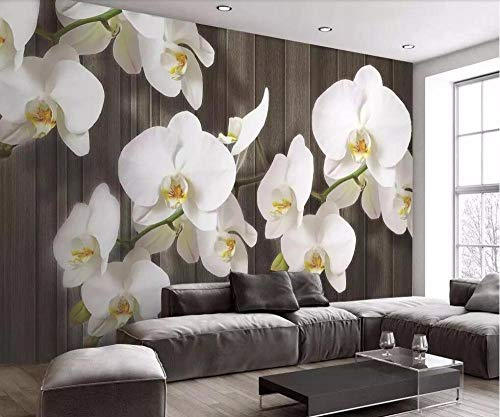 Fiartel costom Tapete Stereo Phalaenopsis Blumen Holzmaserung modernen minimalistischen TV Hintergrund Wanddekoration 3d wallpaper-300X210CM