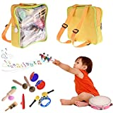 16 PCS Toddler Musical Instrument, Percussion Instrument Toy Percussion Set Preschool Kindergarten Educational Learning Parenting Aids Musical Toy, Including Tambourine Bells Shakers With Storage Bag