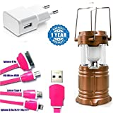 Samsung Galaxy C9 Pro Compatible Certified LED Solar Emergency Light (Powerbank) Lantern, 4 in 1 Charging Cable & 2amp Adapter