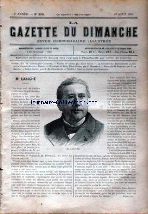 GAZETTE DU DIMANCHE (LA) [No 288] du 22/08/1886 - M. LABICHE PAR CARBONEL - NICOLAS 1ER PAR AIME GIRON - E. HUMBERT - J. DE MEUNG - D'HEURVILLE - LE VICOMTE HENRI DE MESNIL.