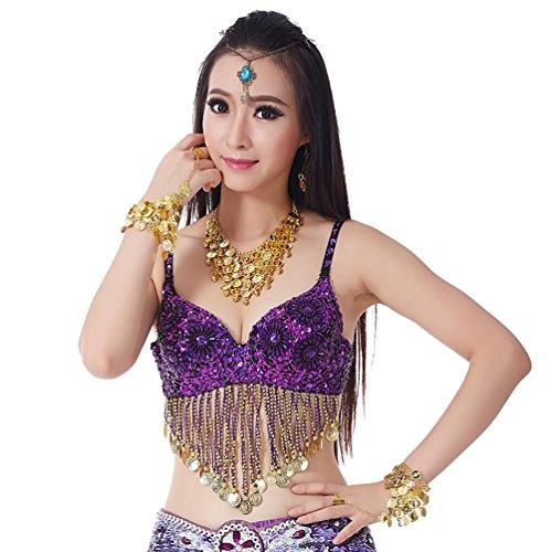 YouPue Gold Bauchtanzoberteil Taille Kette Gold Bauchtanzoberteil Bauchtanz-Kostüm Tanzkostüm BH Tanzkostüm Bauchtanz - Traditionelle Indische Bauchtanz Kostüm