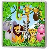 Jungle Animals Light Switch Sticker Vinyl / Skin cover sw43