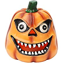 Vela de calabaza de Halloween, luz de velas de Halloween, decoración de Halloween, con temporizador de 4 y 8 horas, con pilas, parpadeo de la vela de simulación, 4x4 pulgadas