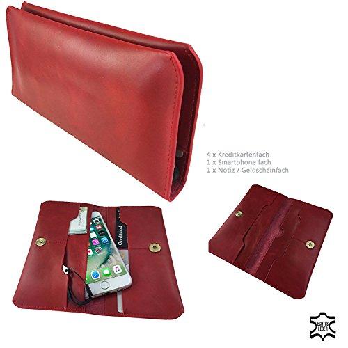 Handy Portemonnaie & Handy Schutzhülle | für SISWOO A4 Chocolate | Elegant und Vielseiltig, Unisex Geldbörse | P1 Rot Echtleder