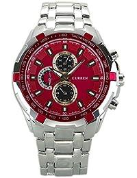 Reloj de hombre - CURREN Reloj de pulsera de acero inoxidable de hombre (Correa de plata & Esfera roja)