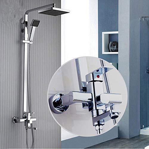 Chrome Finish Regen Dusche Set Wasserhahn ABS Kunststoff Dusche Kopf W/ABS Hand Dusche Spray Mischbatterie wand Montiert (Dusche Kopf Wasserhahn Set)