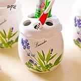 HJKY Badzubehör Set im europäischen Stil Keramik Badezimmer vierteilige kreative Bad Mundwasser Tasse Zahnbürste Halter Kombination von neuen Hochzeitsartikel, Lavendel