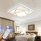 Style home 54W LED Deckenlampe für Wohnzimmer Schlafzimmer Kinderzimmer voll dimmbar mit Fernbedienung Weiß Quadratisch [Energieklasse A++] 6906F