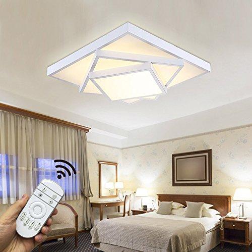 Style Home 30W LED Deckenlampe Für Wohnzimmer Schlafzimmer Kinderzimmer  Voll Dimmbar Mit Fernbedienung Weiß Quadratisch [Energieklasse A++] 6906F