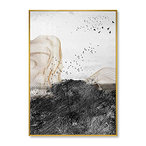 baodanla Kein Rahmen New Chinese Zen Modern Style Goldene Abstrakte Linie Ölgemälde-13 30x40cm -