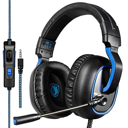 Sades R4 Auricolare Gaming per la Nuova Xbox One, PS4 Controller, 3,5 Millimetri cablata Over-Ear Rumore cancellazione Microfono Controllo del Volume per Mac/PC/laptop/PS4/Xbox One (Nero)