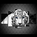 FFFZDCKAY Bilder 5-teilig Leinwandbilder leinwand Weißer Tiger Blaue Augen Tier Leinwandbild malerei raumdekor Poster drucken wandkunst Rahmenlos