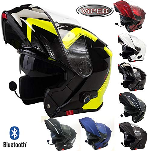 Viper RSV171 Bluetooth 3.0 Flip Up Casco Bordeaux - Black/Fluorescent Spline - XL (61-62cm)