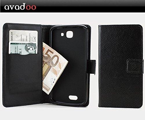 avadoo® Archos 50e Helium Flip Case Cover Tasche Schwarz mit Magnetverschluss und Dualnaht als Cover Tasche Hülle