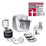 Bosch MUM58W20 - Robot de cocina (3,9 L, Plata, Blanco, Botones, 1,25 L, 1,25 L, 3,9 L)