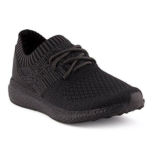 FiveSix Herren Damen Sneaker Sportschuhe Laufschuhe Freizeitschuhe Textilschuhe Schnürschuhe Low-Top Unisex Schuhe Schwarz-W EU 40
