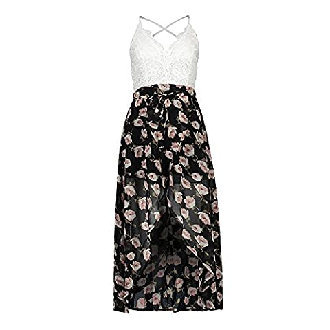 Vruan Beach sleeveless Summer Dresses For Woman Floral Chiffon Backless Sundress Lace Casual BOHO Dresses 3 Colour Size 6-14