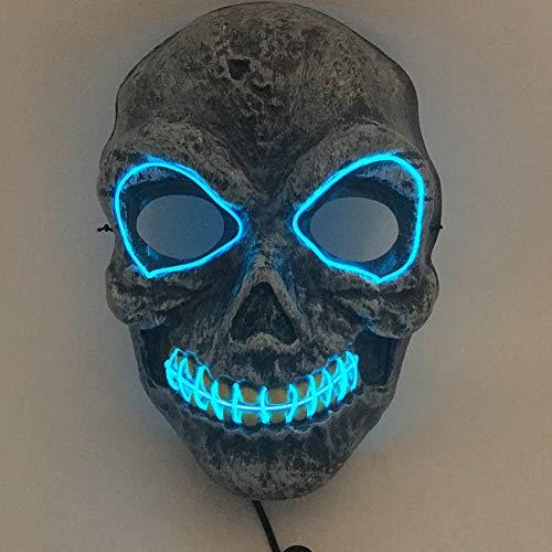 Blitz Kostüm Party - Halloween Festival LED Maske EL Kaltlicht Halloween Kostüm PVC Cosplay Nachtlicht Glitzer Party-LQCN, Sky Blue, Batterien