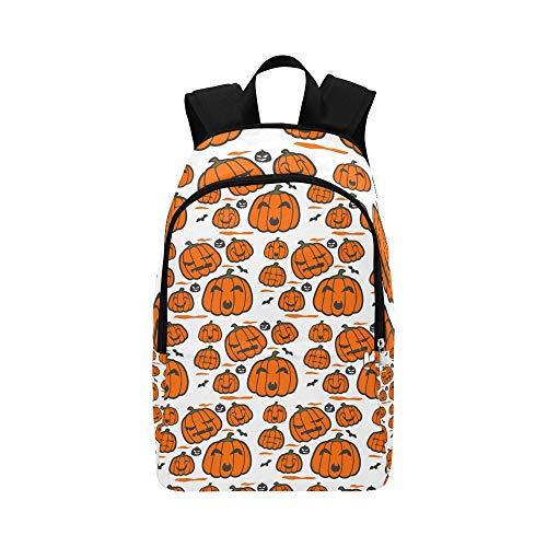 Vektor-orange Halloween-Kürbis-Grau-Umriss-beiläufige Daypack-Reisetasche College School-Rucksack für Männer und Frauen
