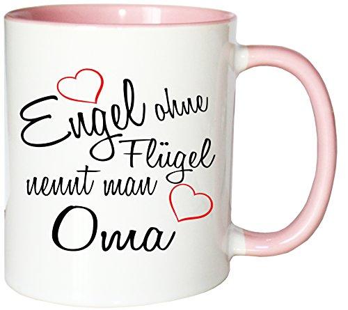 Mister Merchandise Kaffeebecher Tasse Engel ohne Flügel nennt Man Oma Oma Großmutter Omi Großmama Muttertag Großmutti Granny Teetasse Becher Weiß-Rosa