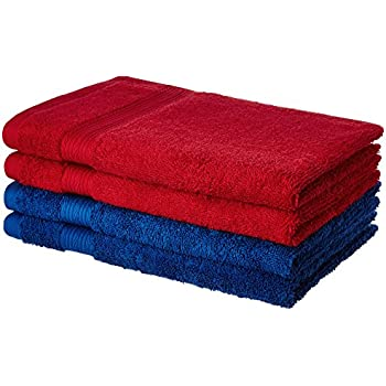 Amazon Brand - Solimo 100% Cotton 4 Piece Hand Towel Set, 500 GSM (Iris Blue and Spanish Red)