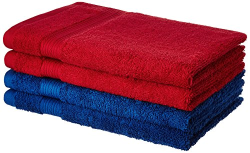 Solimo 4 Piece 500 GSM Cotton Hand Towel Set - Iris Blue and Spanish Red