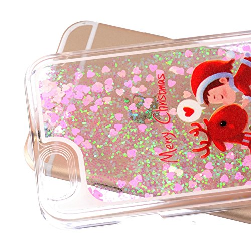 Coque à paillettes pour iPhone 5/5S se Sparkle, iPhone 55S se liquide fluide de luxe Blingbling Coque, newstars Creative Design Transparent PC Fluide Liquide flottant poisson rouge cœur étoile 3D sér Christmas Deer&Child